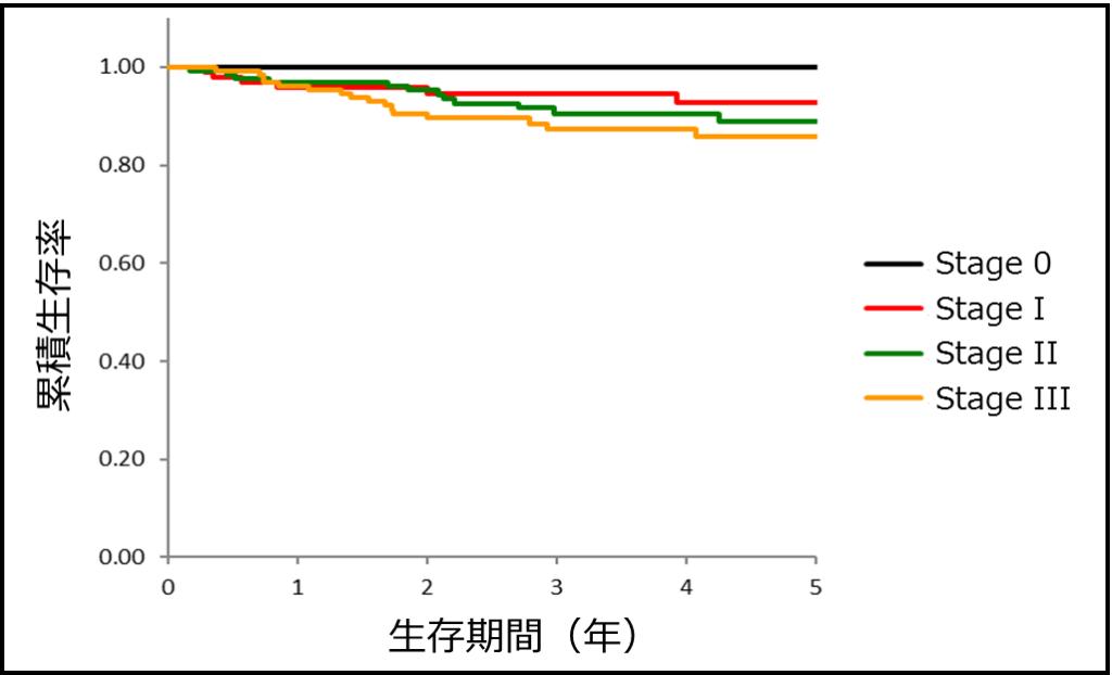 大腸がんの予後:病期分類別の生存曲線